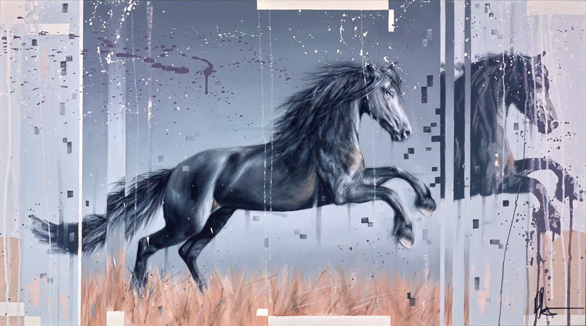 Black Horse II by kris hardy -  sized 36x20 inches. Available from Whitewall Galleries